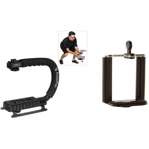 Vello ActionPan Stabilizing Action Grip/Handle with Smartphone Mount Kit (Black)