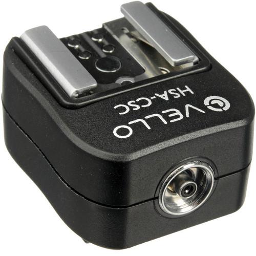 Vello Hot Shoe Adapter - Converts Sony/Minolta Hot Shoe to Standard Hot Shoe + PC Socket