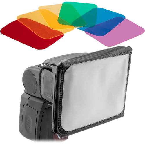 Vello Universal Softbox with Colored Gels and Cinch Strap Kit (Small)