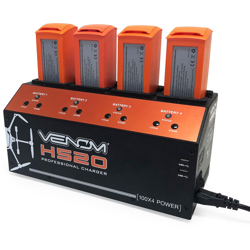 Venom Group Pro Yuneec H520 4-Port Lipo Battery Balance Charger with Dual USB Outputs