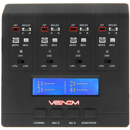 Venom Group Pro Quad Micro 1S 4-Channel AC/DC LiPo & LiHV Battery Charger
