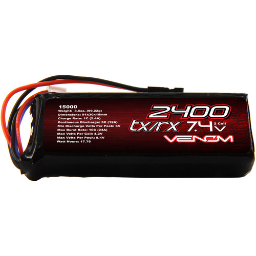 Venom Group Venom 5C 2S 2400mAh 7.4V Receiver/Transmitter Flat Pack Lipo Battery