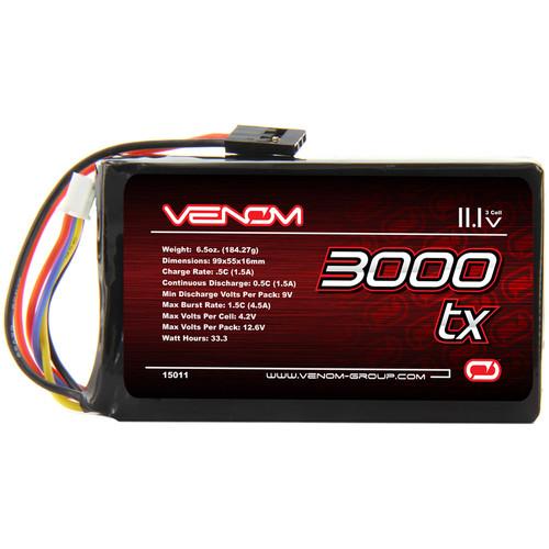 Venom Group Venom 5C 3S 3000mAh 11.1V Transmitter Lipo Battery For Airtronics Sanwa M11 Mx3
