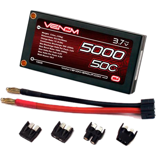 Venom Group Venom 50C 1S 5000mAh 3.7 Hardcase Lipo Battery Roar W Uni Plug