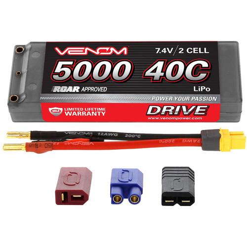 Venom Group Venom 40C 2S 5000mAh 7.4V Hard Case Lipo Battery Roar Approved With Uni Plug