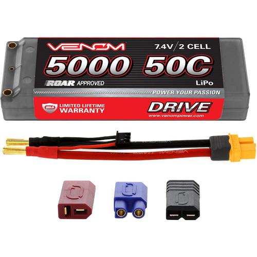 Venom Group Venom 50C 2S 5000mAh 7.4V Hard Case Lipo Battery Roar Approved With Uni Plug