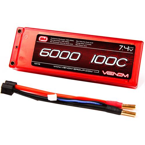 Venom Group Venom 100C 2S 6000mAh 7.4V Lipo Battery Hard Case Rc Roar Approved With Uni Plug