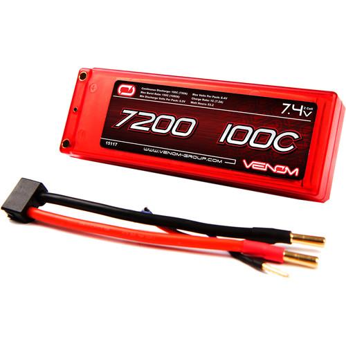 Venom Group Venom 100C 2S 7200mAh 7.4V Lipo Battery Hard Case Rc Roar Approved With Uni Plug