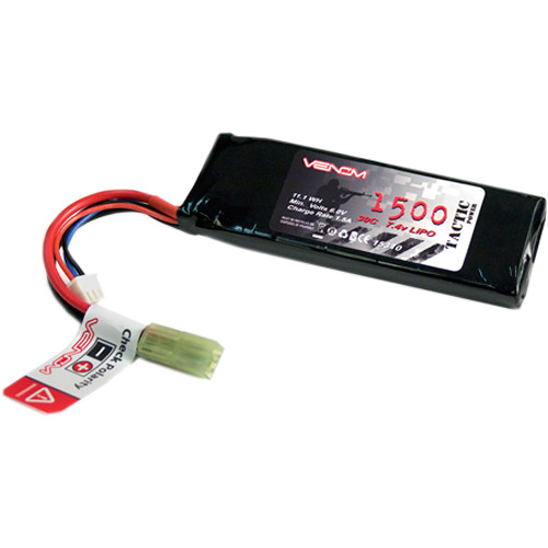 Venom Group 7.4V 1500mAh 30C 2S LiPo Battery Pack for AEG Airsoft Gun with Mini Tamiya