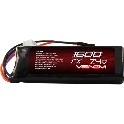 Venom Group Venom 10C 2S 1600mAh 7.4V Flat Receiver Pack Lipo Battery