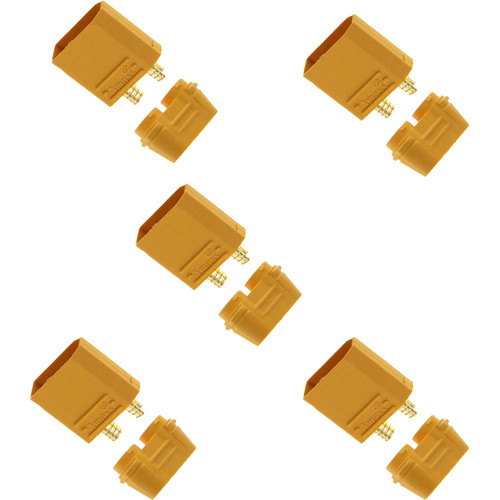 Venom Group Amass XT90/XT90-S Male Battery Connector Plug for Device and Charge Lead Batteries (5-Pack)