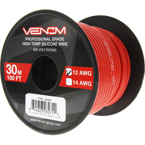 Venom Group 12 AWG Soft Silicone High Strand Count Wire (100' Roll, Red)