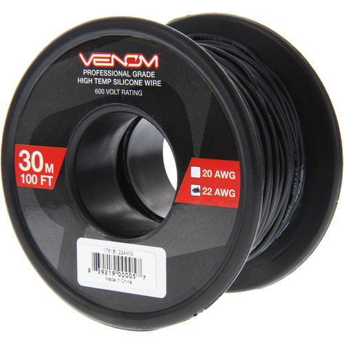 Venom Group 22 AWG Soft Silicone High Strand Count Wire (100' Roll, Black)