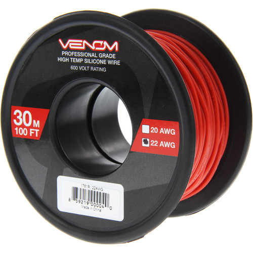 Venom Group 22 AWG Soft Silicone High Strand Count Wire (100' Roll, Red)