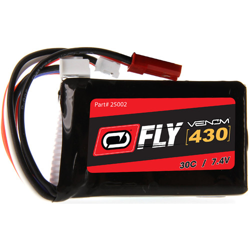 Venom Group Fly 30C 2S 430mAh LiPo Battery with JST & E-Flite JST-PH Connectors (7.4V, 50C/21.5A Maximum Burst Rate)