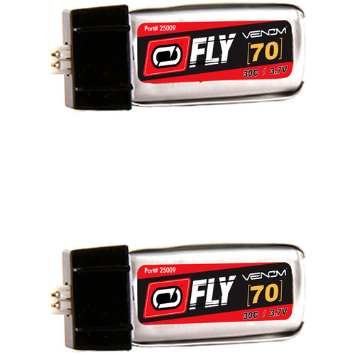 Venom Group Fly 30C 1S 70mAh LiPo Battery with E-Flite Blade MCX Connector (3.7V, 2 Pack)