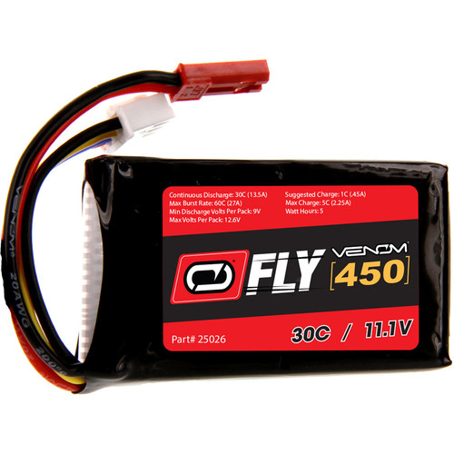 Venom Group Fly 30C 3S 450mAh LiPo Battery with JST Connector (11.1V)