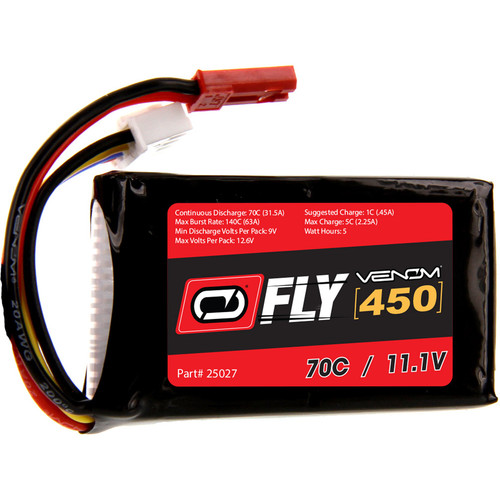 Venom Group Fly 70C 3S 450mAh LiPo Battery with JST Connector (11.1V)