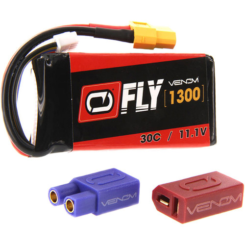 Venom Group Fly 30C 3S 1300mAh LiPo Battery with UNI 2.0 Connector (11.1V, 2-Pack)