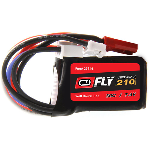 Venom Group Fly 7.4V 210mAh 30C 2S LiPo Battery with JST and E-Flite PH Plug (2-Pack)
