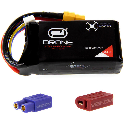 Venom Group 30C 3S 1350mAh LiPo Drone Battery with Uni 2.0 XT60 Connector and EC3 & Deans Adapters (11.1V)