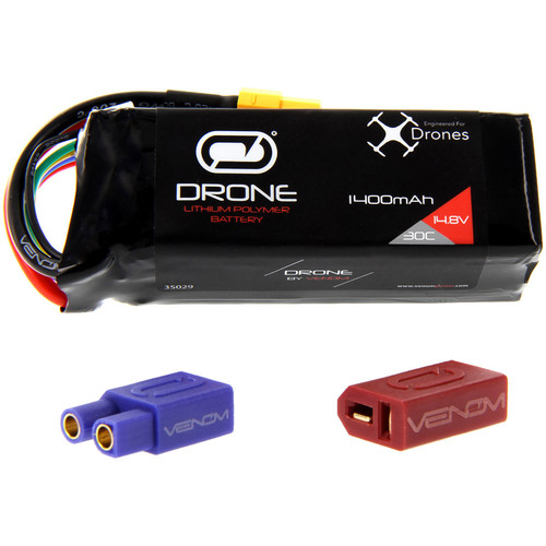 Venom Group 30C 4S 1400mAh LiPo Drone Battery with Uni 2.0 XT60 Connector and EC3 & Deans Adapters (14.8V)