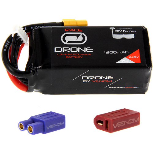 Venom Group 75C 4S 1300mAh FPV Drone Racing LiPo Battery with UNI 2.0 XT60 Connector & EC3 & Deans Adapters (14.8V)