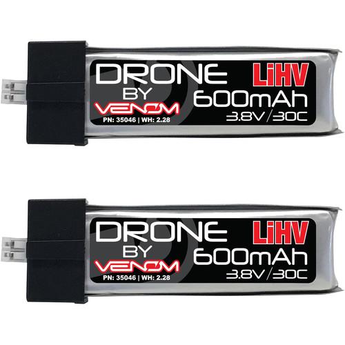 Venom Group 30C 1S 600mAh 3.8V LiHV/LiPo Drone Battery (mCPX/JST-PH 2.0, Pair)