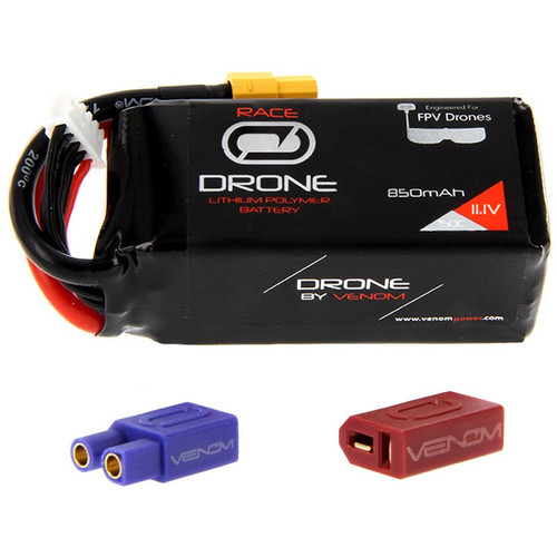 Venom Group 50C 3S 850mAh FPV Drone Racing LiPo Battery with UNI 2.0 XT60 Connector & EC3 & Deans Adapters (11.1V)
