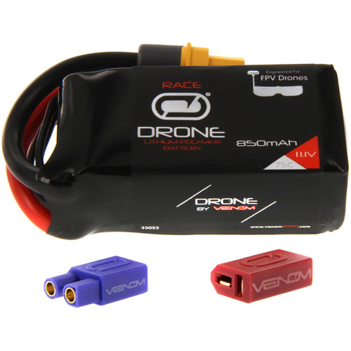 Venom Group 75C 3S 850mAh FPV Drone Racing LiPo Battery with UNI 2.0 XT60 Connector & EC3 & Deans Adapters (11.1V)
