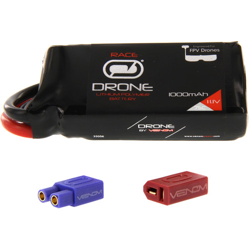 Venom Group 75C 3S 1000mAh FPV Drone Racing LiPo Battery with UNI 2.0 XT60 Connector & EC3 & Deans Adapters (11.1V)
