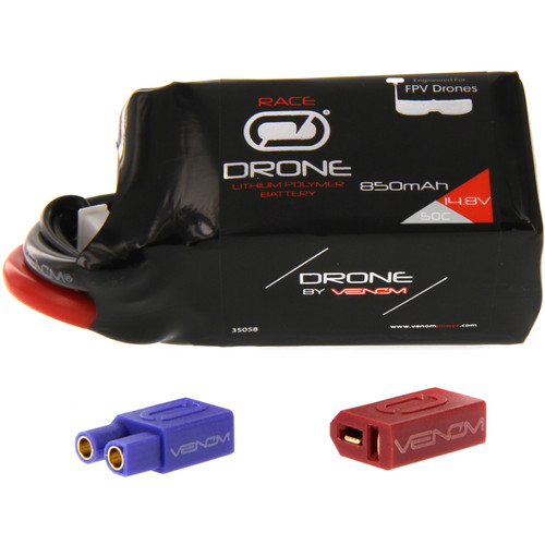 Venom Group 50C 4S 850mAh FPV Drone Racing LiPo Battery with UNI 2.0 XT60 Connector & EC3 & Deans Adapters (14.8V)