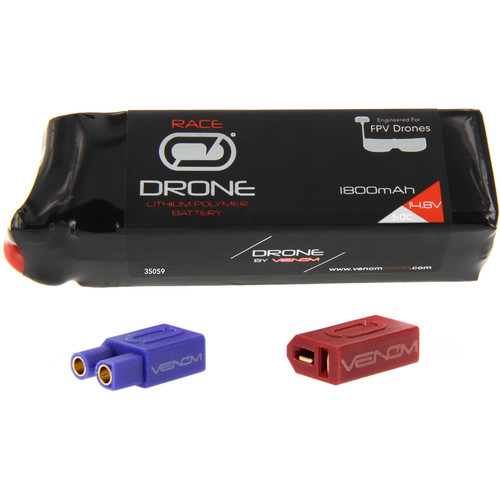 Venom Group 50C 4S 1800mAh FPV Drone Racing LiPo Battery with UNI 2.0 XT60 Connector & EC3 & Deans Adapters (14.8V)