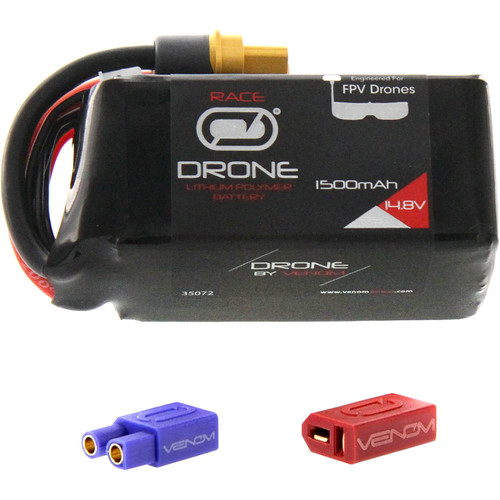 Venom Group 75C 4S 1500mAh FPV Drone Racing LiPo Battery with UNI 2.0 XT60 Connector & EC3 & Deans Adapters (14.8V)