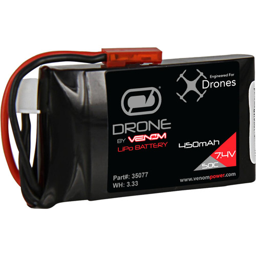 Venom Group Venom 50C 2S 450mAh 7.4V Lipo Drone Battery With Jst Plug