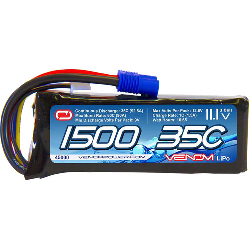 Venom Group Marine 11.1V 1500mAh 35C 3S LiPo Battery with EC3 Plug