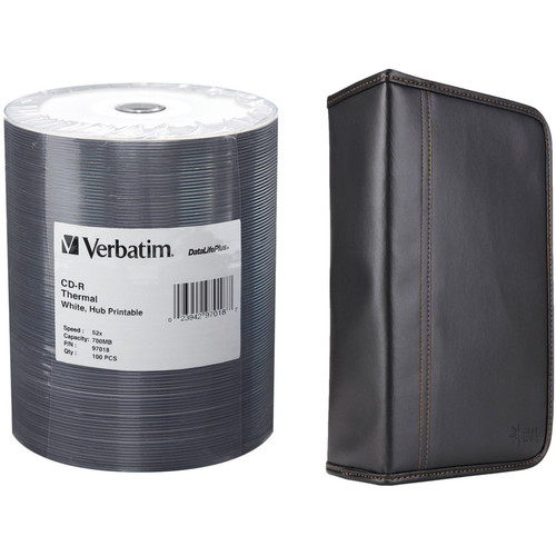 Verbatim 100-Pack CD-R 80 High-Speed Thermal Compact Discs with Case Logic CD Wallet