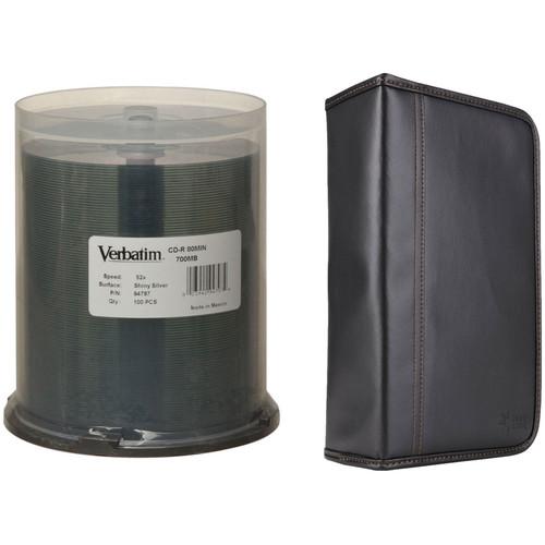 Verbatim 100-Pack CD-R Silver Silk Screen Discs with Case Logic CD Wallet
