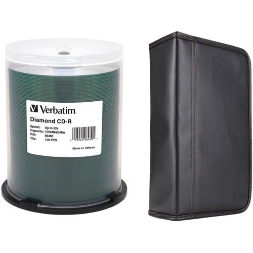 Verbatim 100-Pack Diamond Silk-Screen Hub CD-R Discs with Case Logic CD Wallet