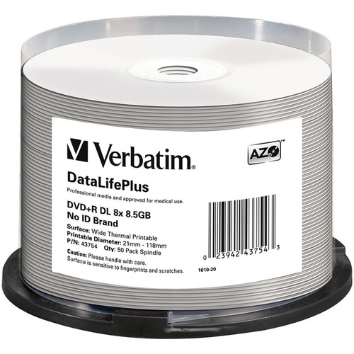 Verbatim DVD+R DL 8.5 GB Thermal Printable Recordable Discs (Spindle Pack of 50)