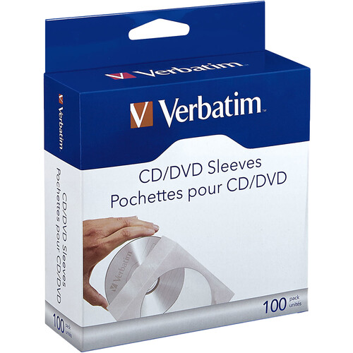 Verbatim CD/DVD Paper Sleeves with Clear Windows (100-Pack)