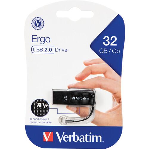 Verbatim 32GB Ergo USB 2.0 Flash Drive (Black)