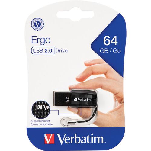 Verbatim 64GB Ergo USB 2.0 Flash Drive (Black)