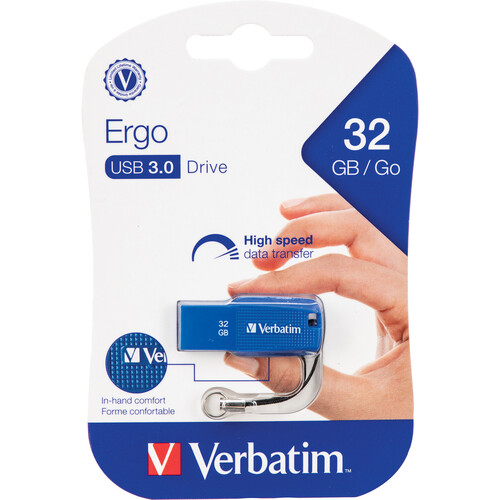 Verbatim 32GB Ergo USB 3.1 Gen 1 Flash Drive (Blue)