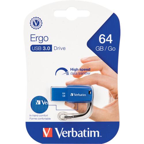 Verbatim 64GB Ergo USB 3.1 Gen 1 Flash Drive (Blue)
