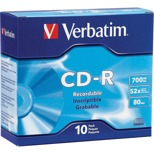 Verbatim CD-R 700MB 52x Write-Once Disc with Slim Case (10-Pack)