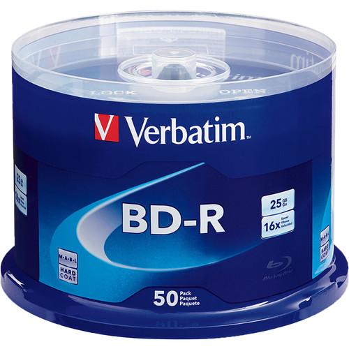 Verbatim 25GB BD-R Blu-ray 16x Discs (50-Pack Spindle)