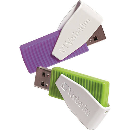 Verbatim 16GB Store 'n' Go Swivel USB 2.0 Flash Drive (Green and Violet, 2-Pack)