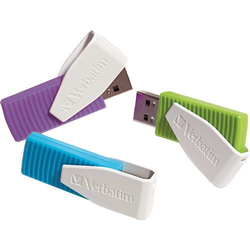 Verbatim 8GB Store 'n' Go Swivel USB 2.0 Flash Drive (Blue, Green, Violet, 3-Pack)
