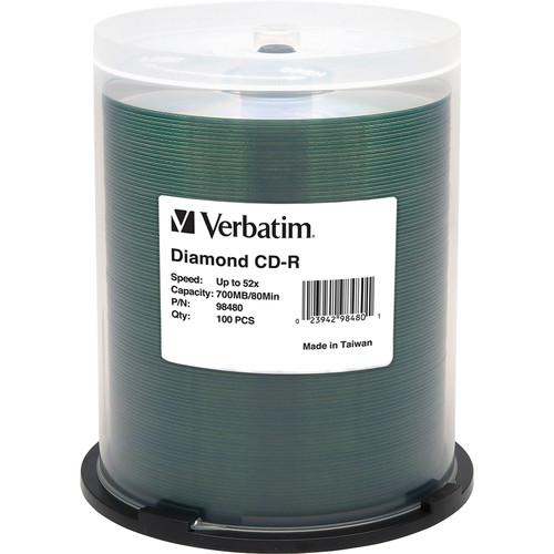 Verbatim CD-R 700MB 52x Diamond Silk-Screen Hub Printable Discs (Pack of 100)